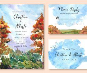 Orange tree and green grass watercolor landscape wedding invitation card vector