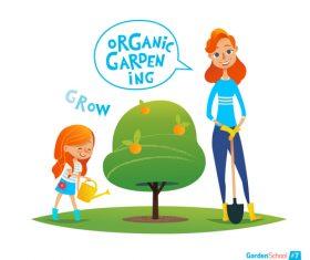 Organic gardening cartoon illustration vector
