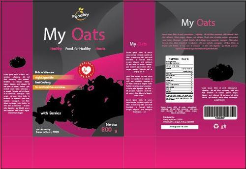 Organic oat packaging design vector