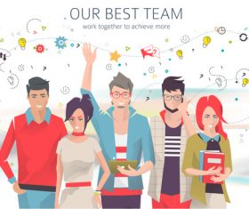Our best team cartoon illustration vector
