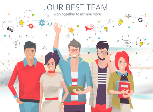 Our best team cartoon illustration vector