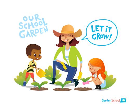 Our school garden cartoon illustration vector