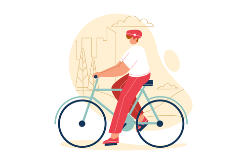 Outdoor cycling cartoon illustration vector
