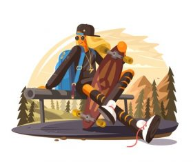 Outdoor travel cartoon illustration vector