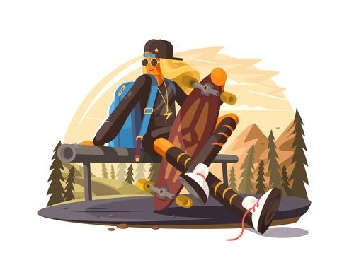 Outdoor travel cartoon illustration vector