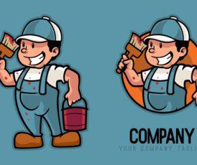 Painter cartoon character vector