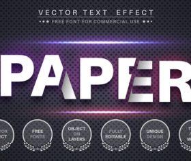 Paper editable font text design vector