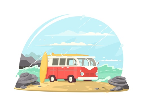 Parked by the sea car cartoon illustration vector
