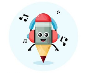 Pencil cartoon illustration vector with headphones