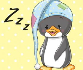 Penguin baby cartoon illustration vector