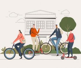 People goes to campus illustration vector