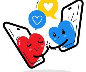 Phone dating cartoon illustration vector