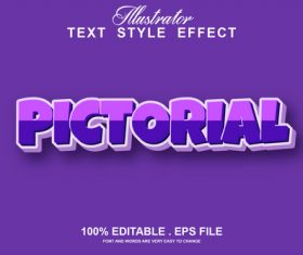 Pictorial text style effect vector