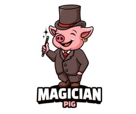 Pig magician cartoon vector