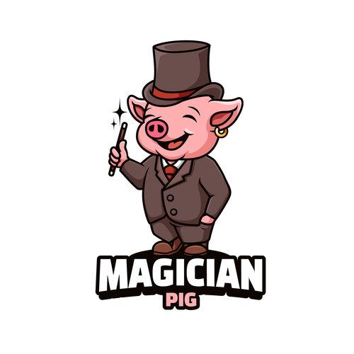 Pig magician cartoon vector