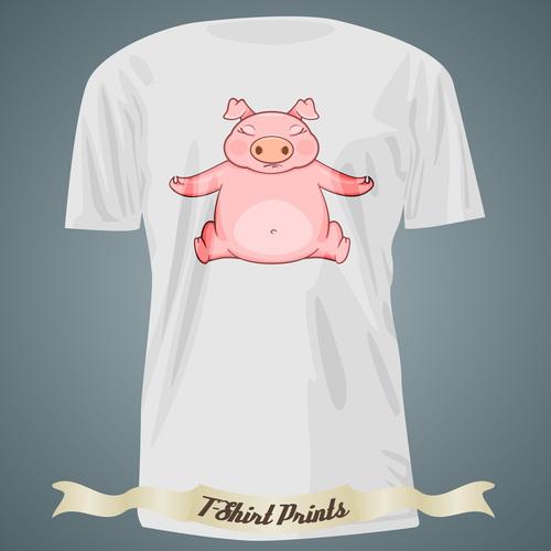 Pig t shirts prints design vector