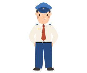 Pilot profession character vector