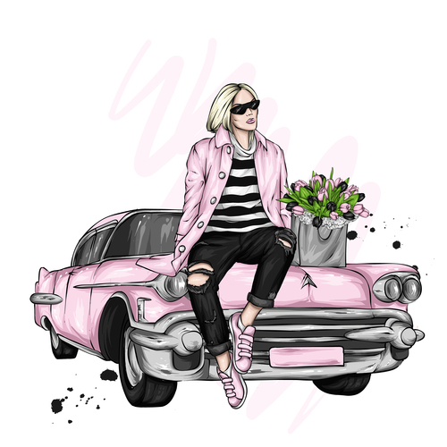 Pink fashion clothes and accessories watercolor illustration vector