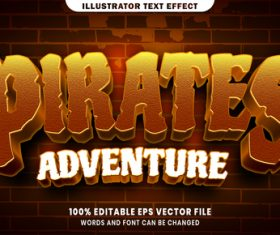 Pirates adventure 3d editable text style effect vector