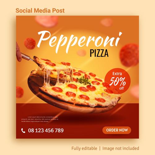 Pizza food sale social media post advertising vector