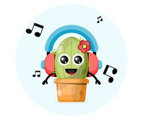 Plant cartoon illustration vector with headphones