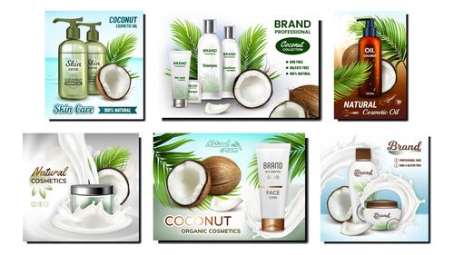 Plant essence series cosmetics advertising vector