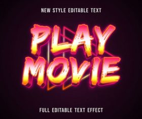 Play movie editable text effect vector