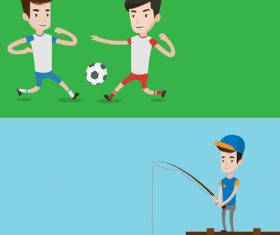 Playing football and fishing cartoon illustration vector