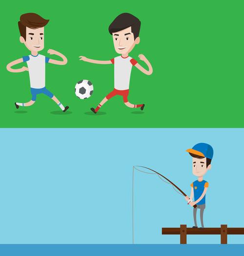 Playing football and fishing cartoon illustration vector