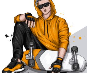 Playing skateboard boy vector