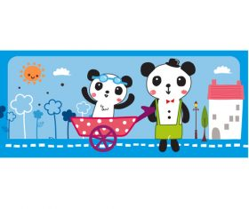 Playing with brother panda vector