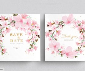 Plum blossom background wedding invitation card vector