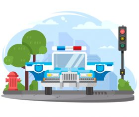 Police car cartoon illustration vector