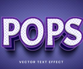 Pops editable font text design vector