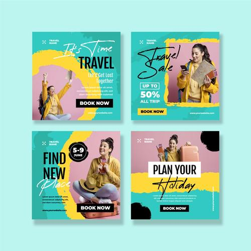 Poster design woman going to travel vector