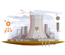 Power station cartoon illustration vector