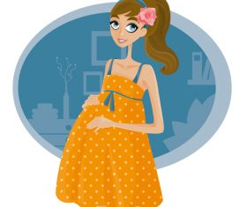 Pregnant cartoon illustration vector