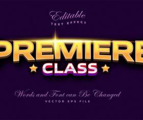 Premiere class editable font and 3d effect vector