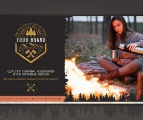 Premium camping accessories brand design vector