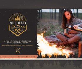 Premium camping accessories brand design vector