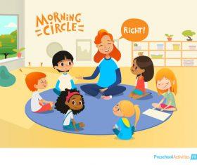 Preschool activities cartoon illustration vector