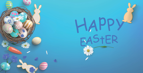 Pretty bunny egg easter background vector