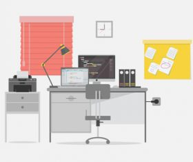 Programmer workspace illustration background vector