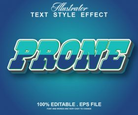 Prone text style effect vector