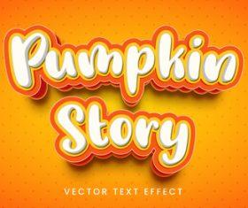 Pumpkin story editable font text design vector