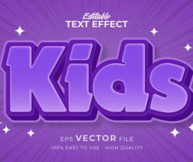 Purple font editable text effect vector