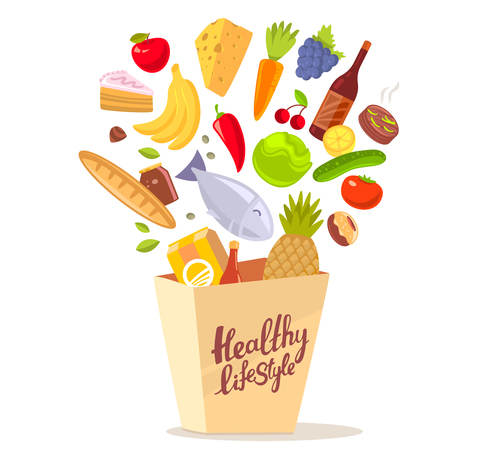 Putting into shopping bag food vector