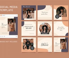Puzzle instagram post fashion women template vector
