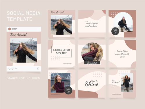 Puzzle instagram post template fashion women vector