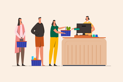 Queue of people at grocery people illustration vector
